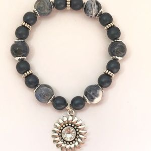 Jewelry - Dark Blue & Blue Marble~Sunflower Charm~Bracelet